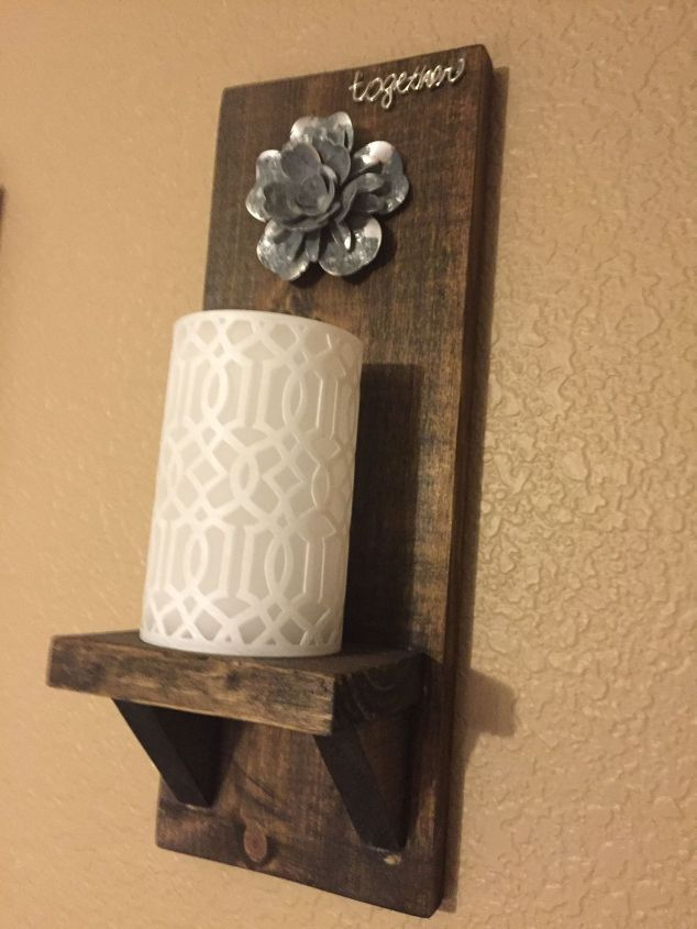 s 13 homemade wall sconces that doubles as wall decor, home decor, wall decor, Fasten stained wood pieces for a rustic look