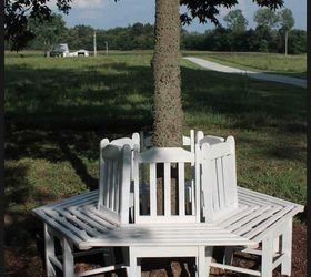 Tree Bench Made From Kitchen Chairs, Diy, Outdoor Furniture, Repurposing  Upcycling, Woodworking