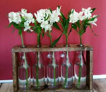 diy recycled bottles wood centerpiece, crafts, how to