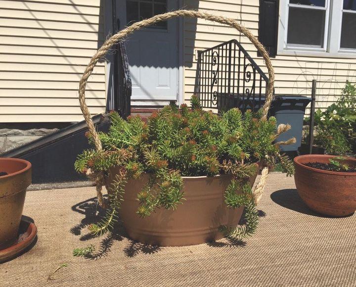 faux galvanized hanging planter, container gardening, crafts, gardening