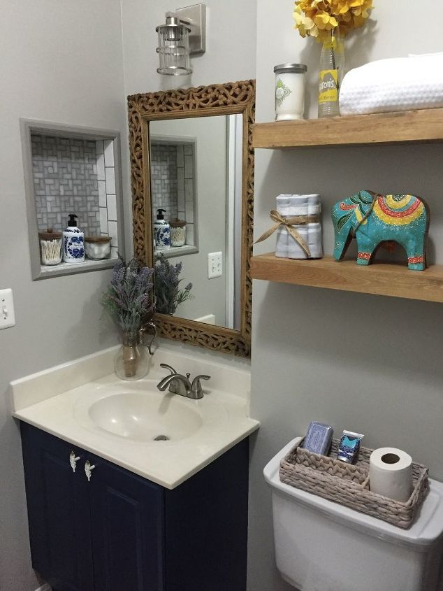 Easy diy builders grade bathroom updates hometalk for The bathroom builders