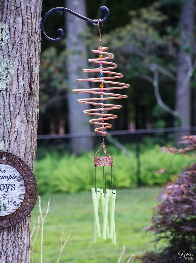 coiled copper wind chimes, crafts, how to, outdoor living