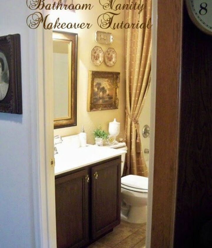 s 11 ways to transform your bathroom vanity without replacing it, bathroom ideas, Stain the cabinets for a rich color