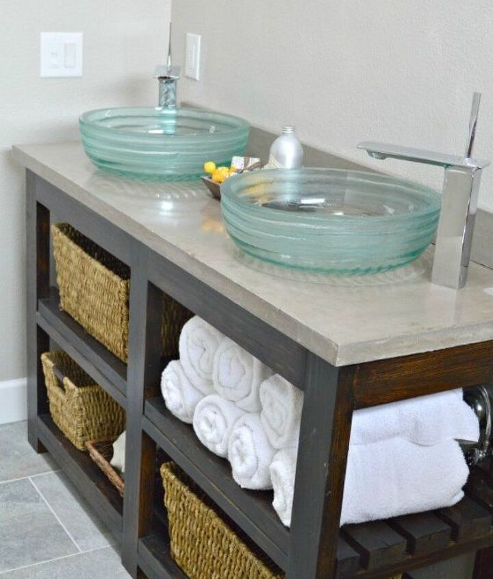 s 11 ways to transform your bathroom vanity without replacing it, bathroom ideas, Take the cabinets off for open shelving