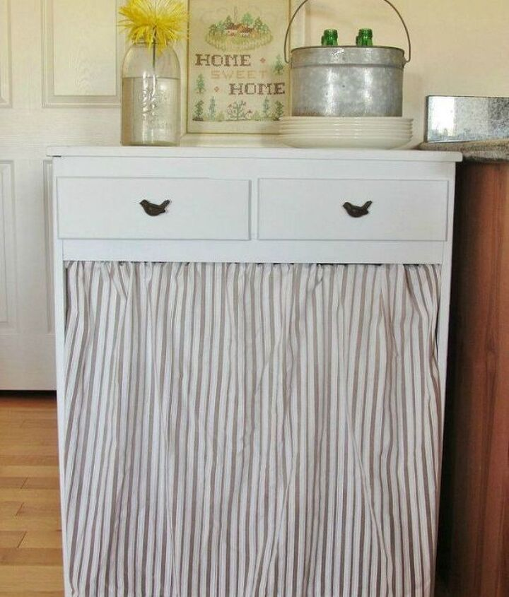 s tired of your ugly trash can here are 12 amazing ideas , crafts, woodworking projects, Hang a curtain around your garbage cans