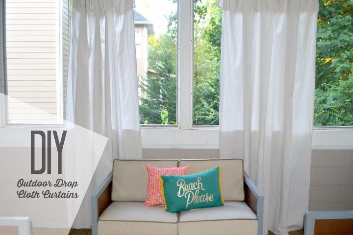 diy cheap and easy drop cloth curtains rods for porch, window treatments