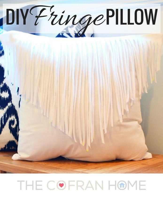 diy fringe pillow, crafts, how to, repurposing upcycling, reupholster