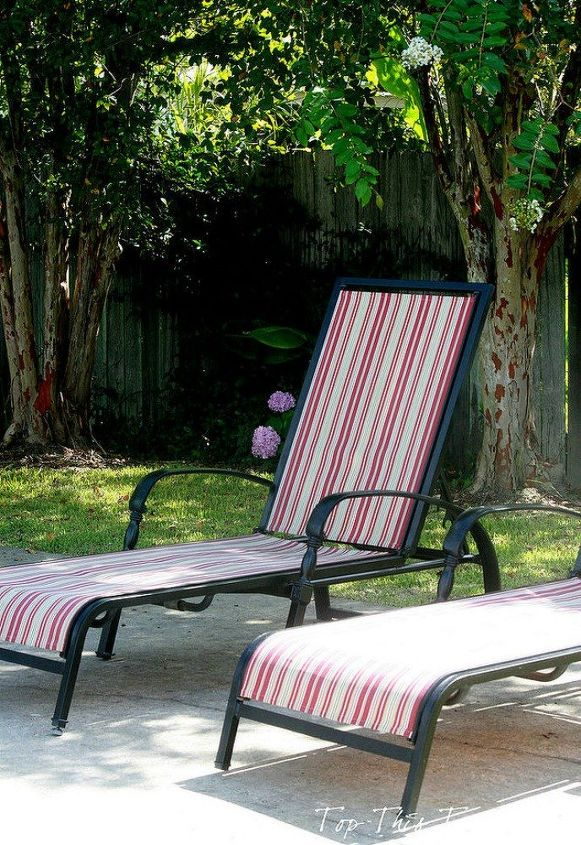 s when creative people need more backyard seating, outdoor furniture, They reupholster their comfy lounge chairs