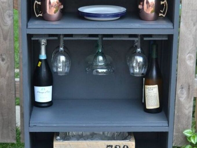 how to turn a curbside dresser into a bar, how to, painted furniture, repurposing upcycling