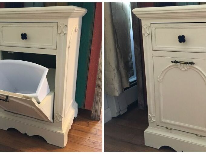 trash can tilt cabinet, kitchen cabinets, kitchen design, woodworking projects