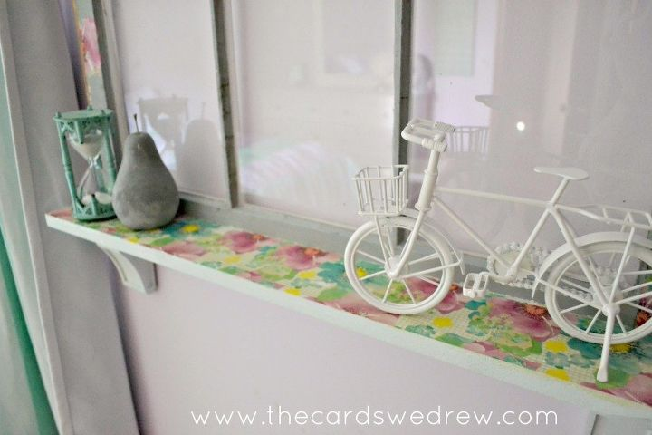 upcycled window shelf, bedroom ideas, decoupage, repurposing upcycling, shelving ideas, windows