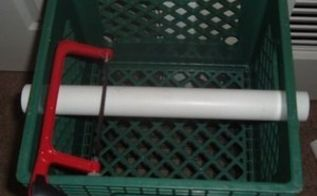 using a milk crate to cut pvc and abs pipes , home maintenance repairs, repurposing upcycling, tools