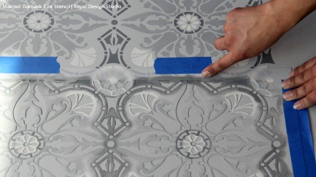 How To Paint A Hardwood Floor With Tile Stencils Flooring Floors Home