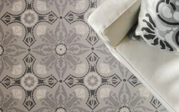 how to paint a hardwood floor with tile stencils, flooring, hardwood floors, home decor, how to, painting