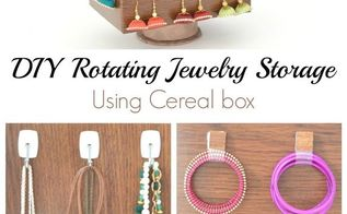 diy rotating jewelry storage using cereal box paper towel tube, crafts, how to, organizing, repurposing upcycling