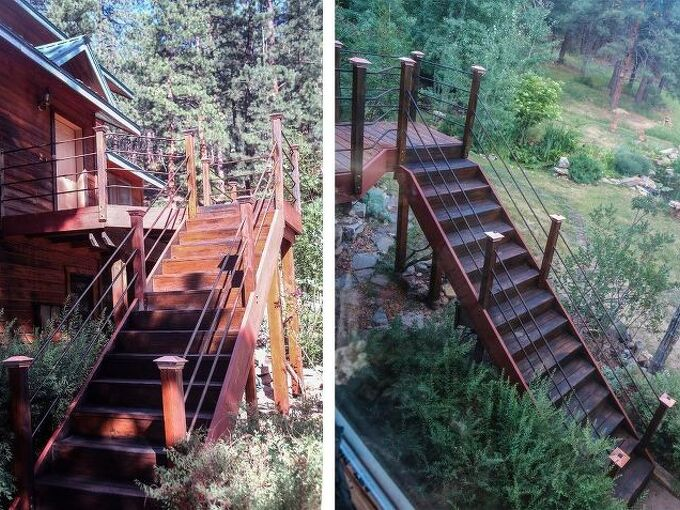 blending old into new wood deck stairs, decks, how to, painting, stairs, Same technique on front stairs