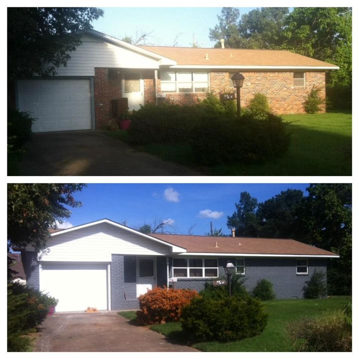 with just a can of paint a 1964 ranch house is completely changed , curb appeal, home improvement, landscape, painting