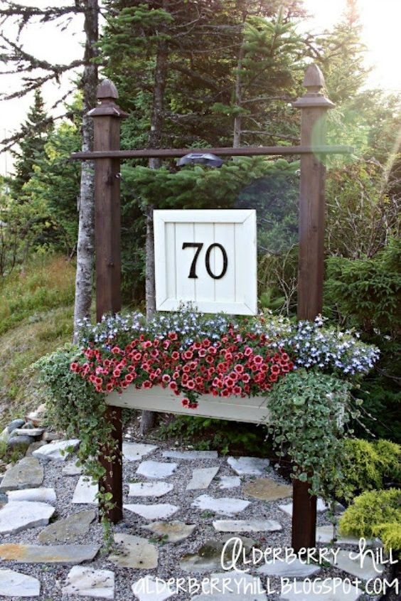 s 11 charming ways to add your number sign to your garden, curb appeal, Paint a pallet wood sign for elegance