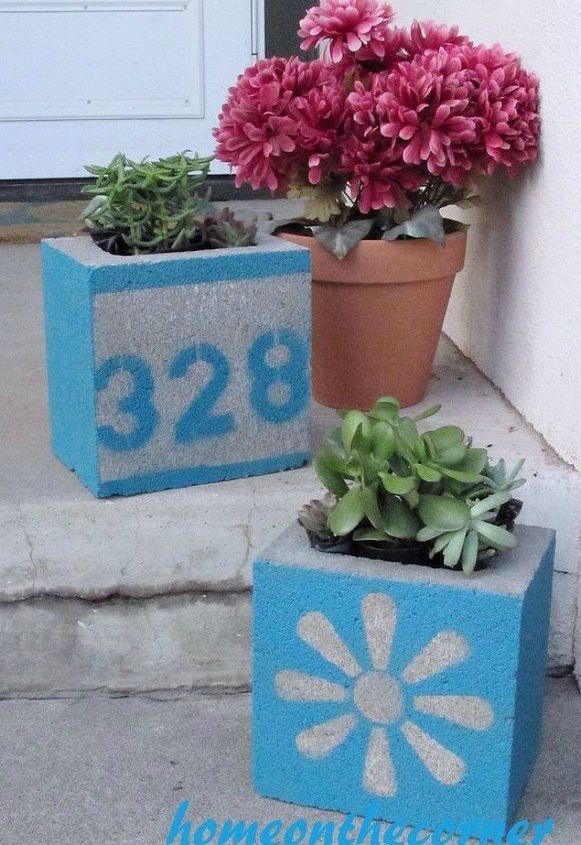 s 11 charming ways to add your number sign to your garden, curb appeal, Paint your number with cute concrete blocks