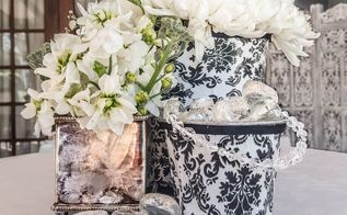 a delightful damask bucket makeover, crafts, decoupage, how to