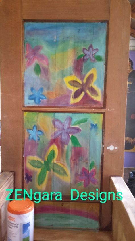 like magic an old wood door is transformed into stained glass , doors, how to, painted furniture, painting, windows