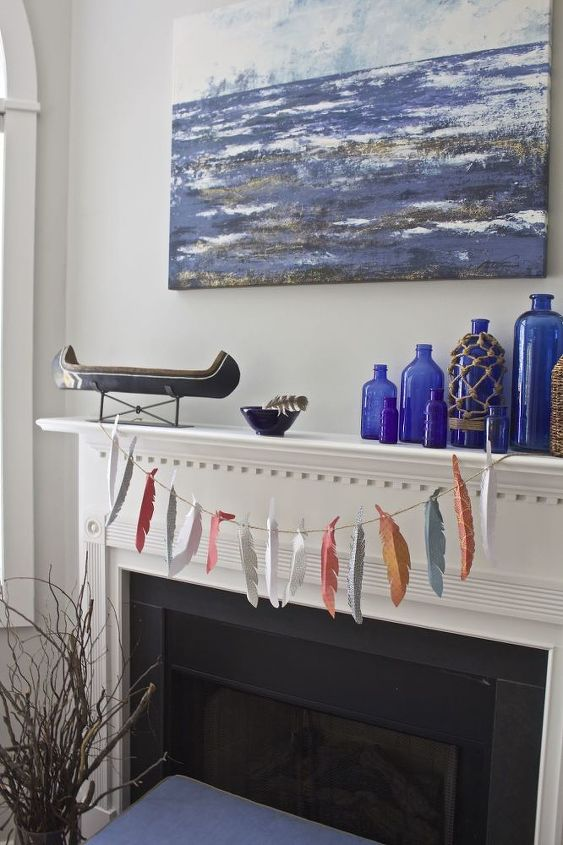 diy paper feather garland, crafts, fireplaces mantels, how to