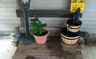 old barnboard porch display platform, how to, woodworking projects, The finished project