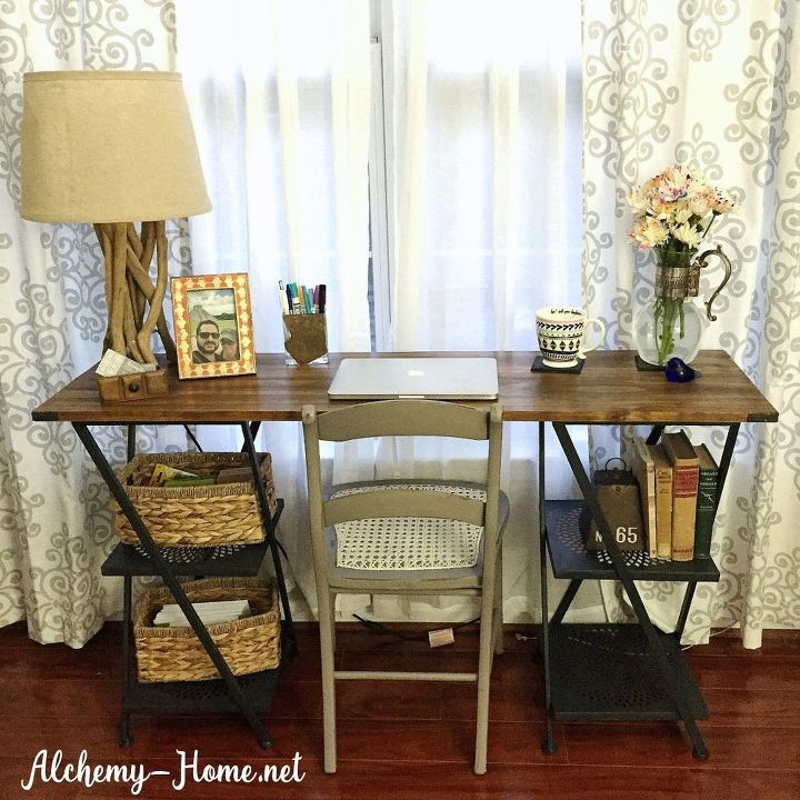 diy industrial desk power tools not required , home office, how to, repurposing upcycling