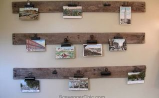 easy and free postcard artwork or photo display, crafts, how to, pallet, repurpose household items