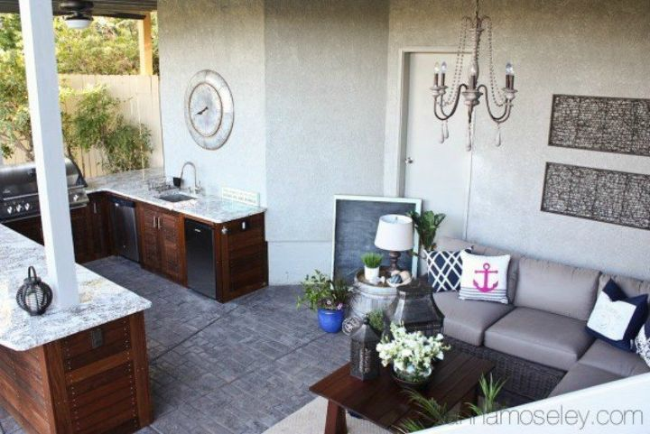 s 9 outdoor kitchens we re dreaming of this bbq season, kitchen design, outdoor living, This cute corner one made with tropical wood