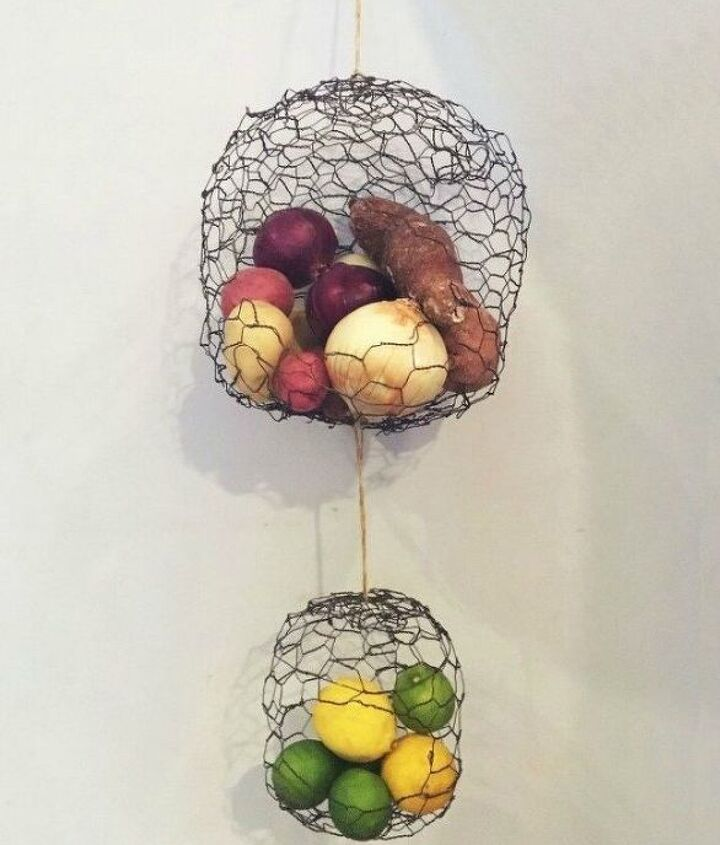 s 16 things you didn t know you could do with chickenwire, Hang your produce with handmade baskets