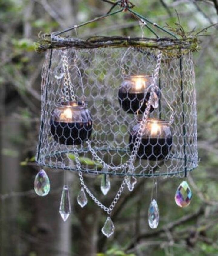 s 16 things you didn t know you could do with chickenwire, Make an avant garde chandelier for outside