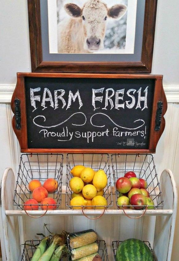 s want a farmhouse kitchen these easy ideas are brilliant , kitchen design, Upcycle a blanket rack into a vegetable stand