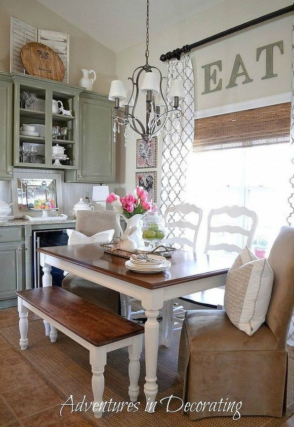 s want a farmhouse kitchen these easy ideas are brilliant , kitchen design, Add a wooden bench at your table