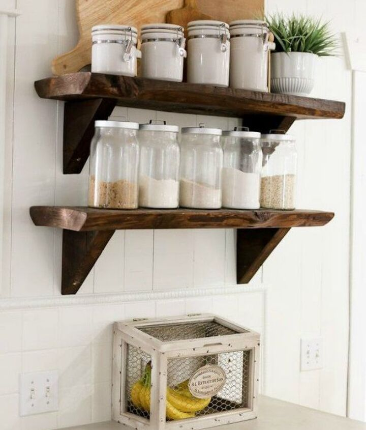 s want a farmhouse kitchen these easy ideas are brilliant , kitchen design, Instal open shelving to display your spices