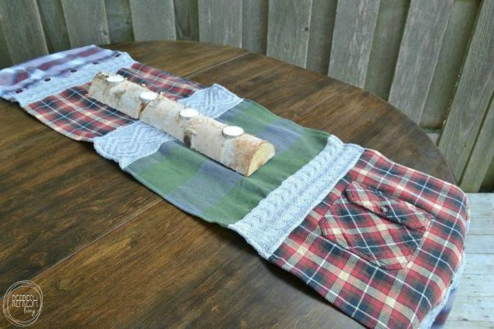 s what you didn t know you could do with your old clothes, They make a perfect lumberjack table runner
