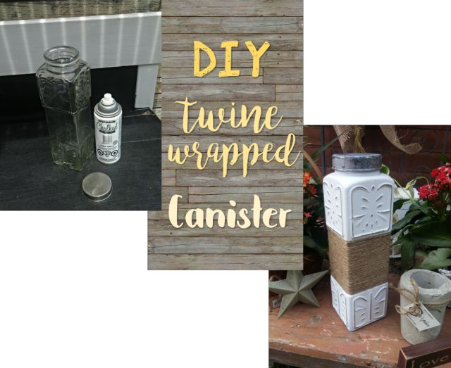 diy twine wrapped canister, chalk paint, crafts, how to
