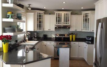 DIY Kitchen Makeover.  Painted Counters, Backsplash, Cabinets.  Epoxy