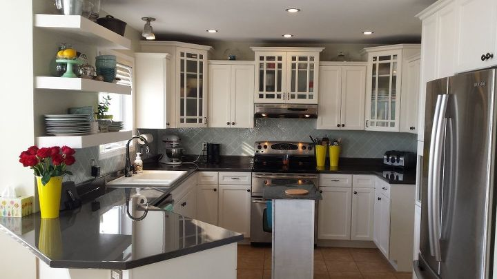 DIY Kitchen Makeover. Painted Counters, Backsplash, Cabinets. Epoxy ...