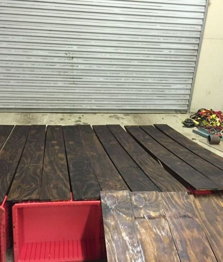 Planks are stained and drying