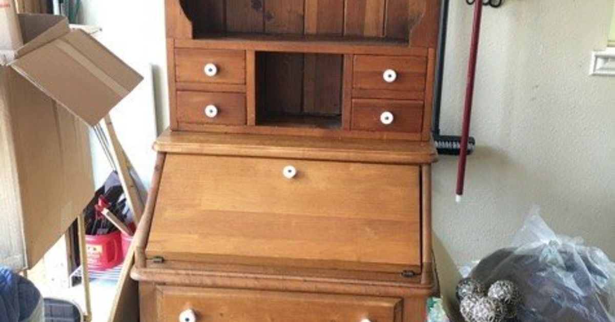 Excellent Updated This Old Desk Hutch With Paint And Stencil Hometalk Download Free Architecture Designs Scobabritishbridgeorg