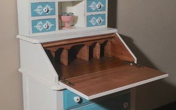 updated this old desk hutch with paint and stencil, painted furniture, Drop down