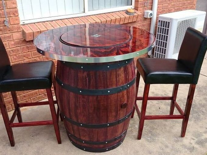 how to make a wine barrel table with built in wine bucket, how to, repurposing upcycling