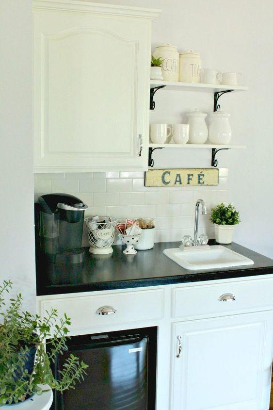 Diy Farmhouse Beverage Bar Kitchen Cabinets Design Painted Furniture Shelving Ideas