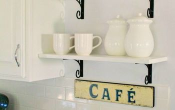 diy farmhouse beverage bar, kitchen cabinets, kitchen design, painted furniture, shelving ideas
