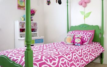 a bright green bed, bedroom ideas, chalk paint, painted furniture
