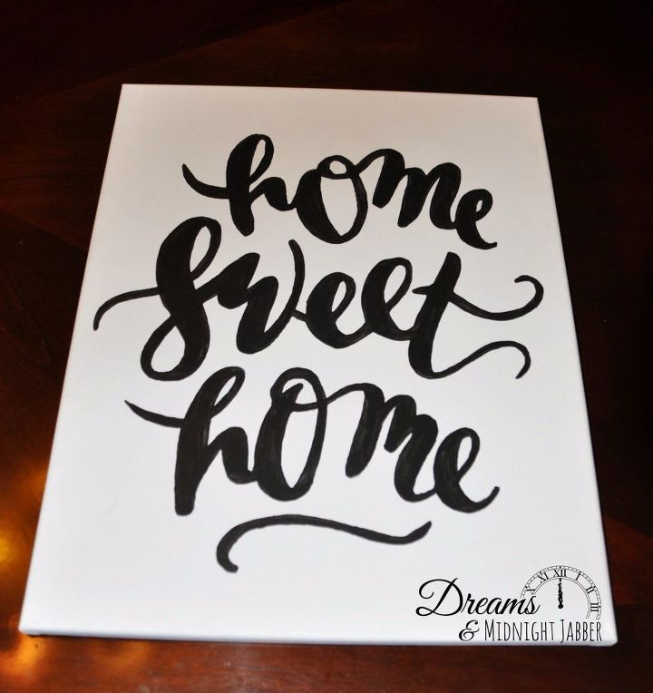 home sweet home diy handpainted wall art with frame, crafts, how to, wall decor