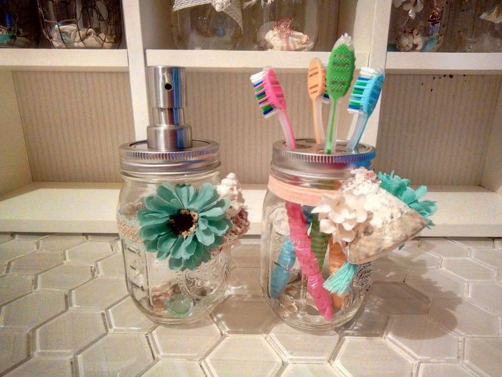 mason jar beach themed dispensers and toothbrush holders, crafts, how to, mason jars, repurposing upcycling