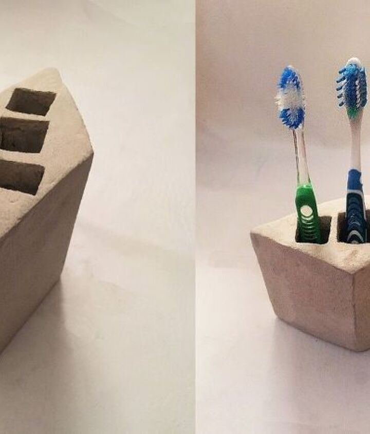 cement toothbrush holder, bathroom ideas, concrete masonry, crafts, how to, organizing, small bathroom ideas