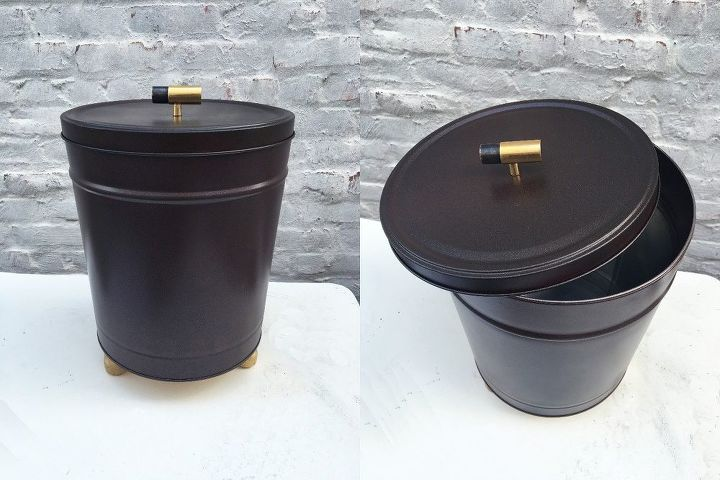 popcorn tin trash can, bathroom ideas, crafts, how to, painting, repurposing upcycling